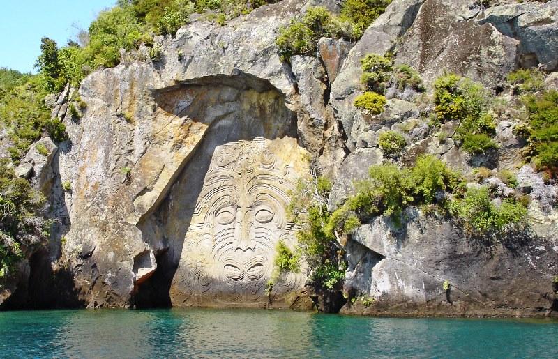 Lake Taupo Maori carvings New Zealand - photo Zoe Dawes
