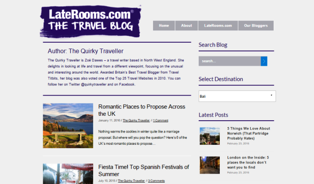 Laterooms Blog posts - The Quirky Traveller