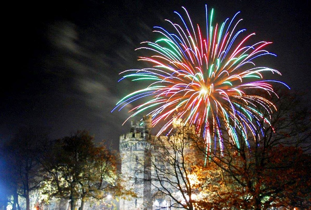 Fireworks over Lancaster Castle - photo c/o Light up Lancaster