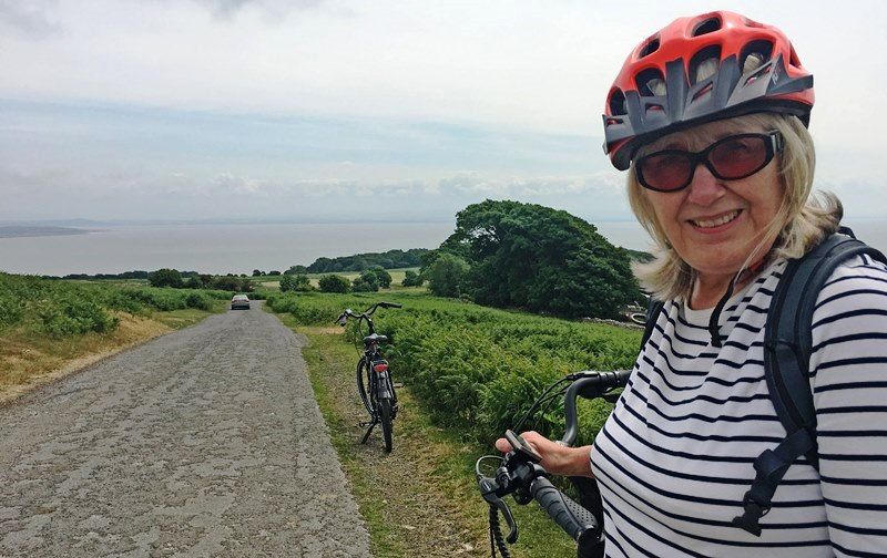 Electric bikes overlooking Morecambe Bay