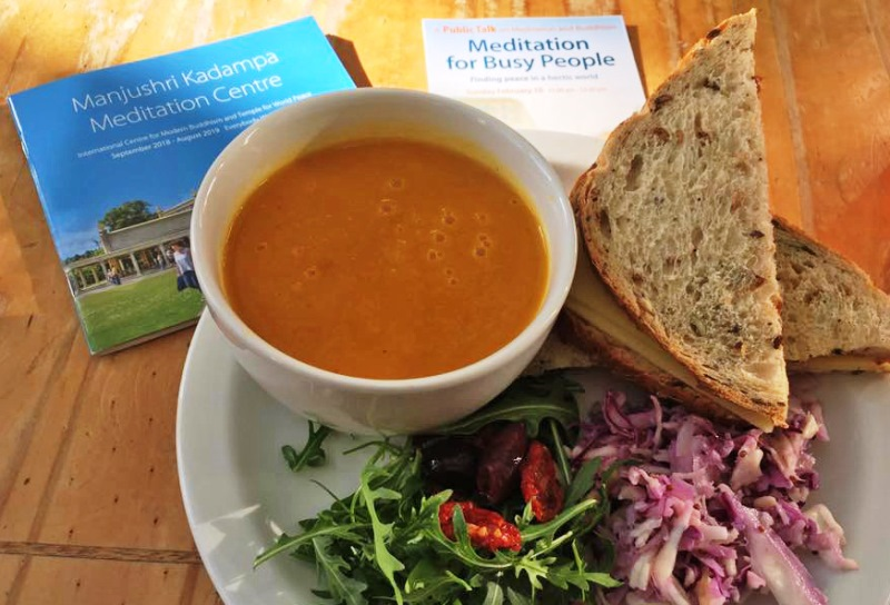 Vegetarian Lunch in World Peace Cafe at Manjushri Buddhist Meditation Centre Ulverston
