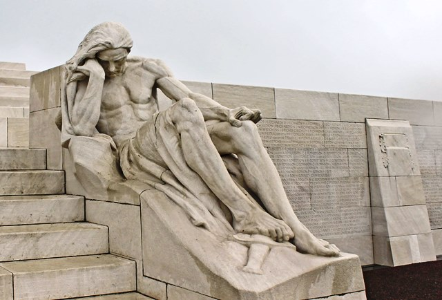 Male mourner Vimy Ridge Memorial