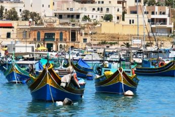Colourful fishing boats at Maraxlokk MaltaHarbour - photo Zoe Dawes