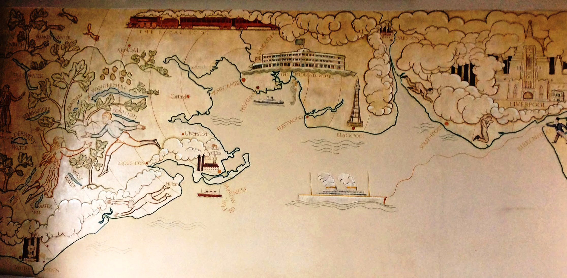 Eric Gill Morecambe Bay Mural - Midland Hotel