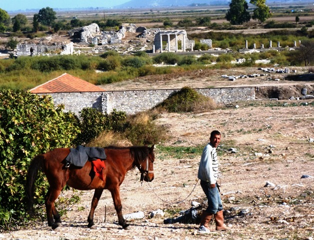 Man and horse at ruins of Miletus Turkey - photo Zoe Dawes