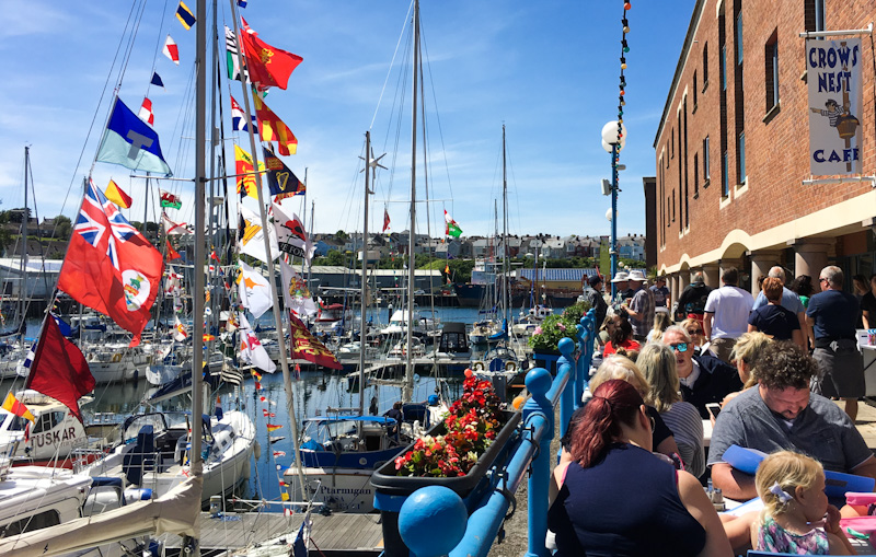 Milford Waterfront cafes, shops and bars in Milford Haven Pembrokeshire - photo Zoe Dawes