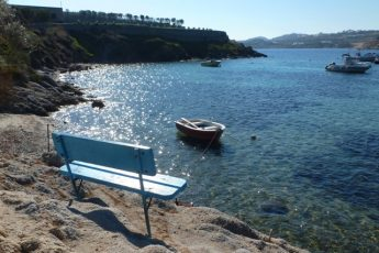 Mykonos Ournos beach seat Greece