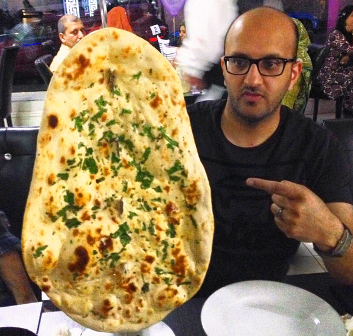 Giant naan bread Lala's Restaurant Bradford Yorkshire - photo zoedawes