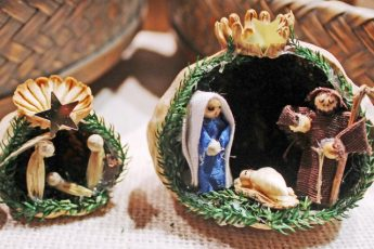 Nativity scene in a nutshell Tegernsee Christmas Market Germany
