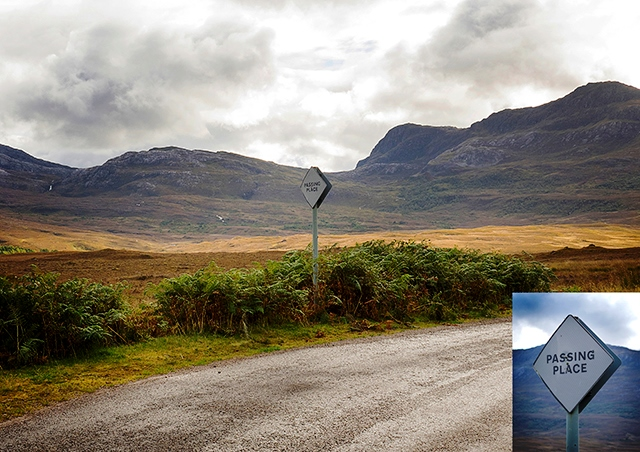 North Coast 500 - Passing Place on the road from Shieldaig to Lochcarron, Wester Ross - photoAngus Matheson