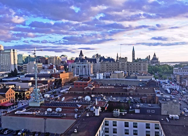 Ottawa at sunset from Andaz Hotel - photo Zoe Dawes