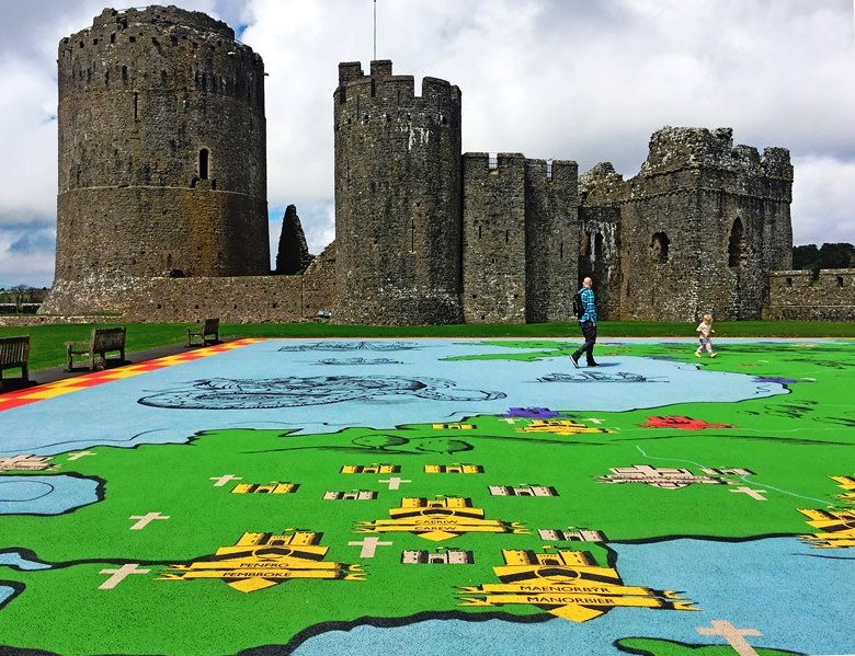 Pembroke Castle and Map of Wales - photo Zoe Dawes