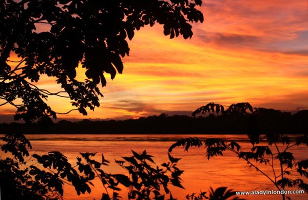 Sunset on the Amazon in Peru South America
