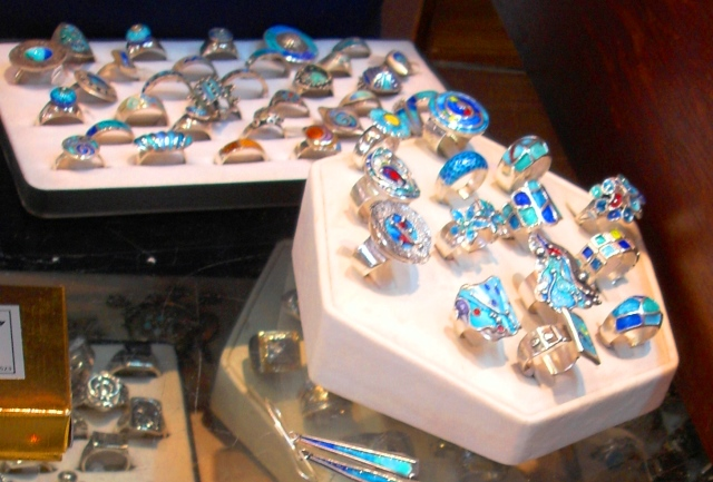 Greek silver and turquoise rings Monemvasia photo zoe dawes