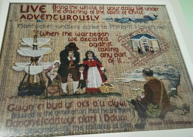Quaker Tapestry panel in Nantucket Floatel Cabin Milford Waterfront