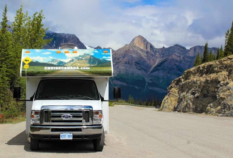RV (motorhome) in the Rockies in Canada - photo Zoe Dawes