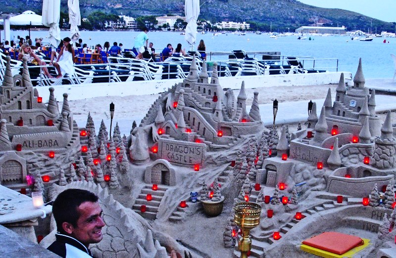 Sandcastles at night Puerto Pollensa Majorca - photo Zoe Dawes