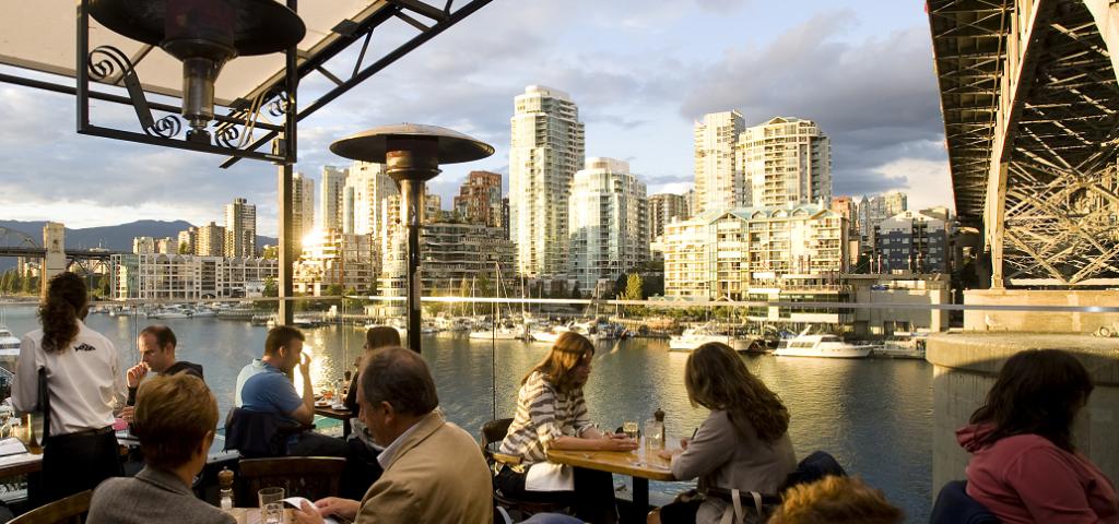 Sandbar Restaurant view of Vancouver BC Canada
