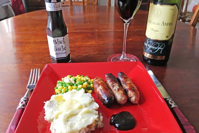 Sausage and mash with Black Garlic Ketchup - photo zoe dawes