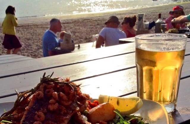 Seabass and prawns Sams on the Beach Polkerris Cornwall - photo zoedawes