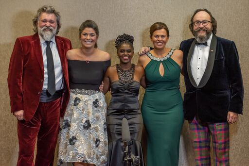 The Hairy Bikers, Sophia and Jannet of Flock Events and Sue at Cumbria Family Business Awards