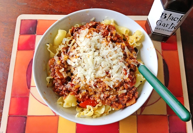 Black Garlic Ketchup Bolognese with pasta