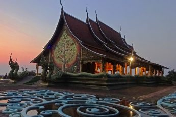 Sunset at Sirindhorn Wararam Phu Prao Temple North East Thailand - photo Zoe Dawes