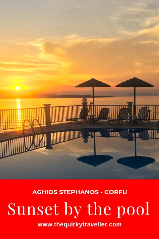 Sunset by the Pool at Aghios Stephanos on Corfu - Pinterest