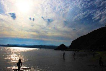 Sunset on Polkerris Beach Cornwall - photo Zoe Dawes