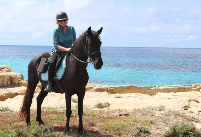 Tana and Zoe horse riding Menorca