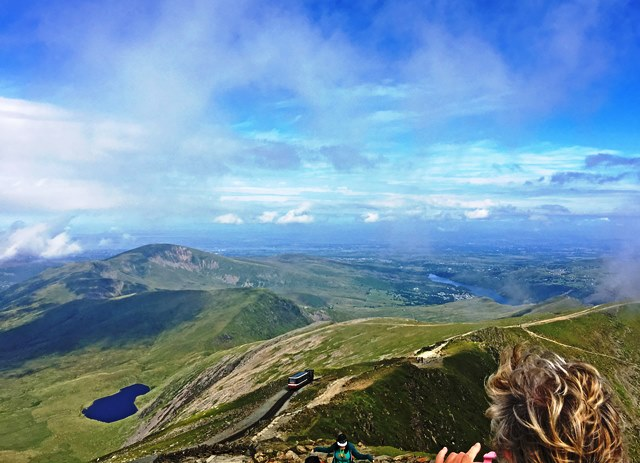 Top of Snowdon with Mountain Railway train North Wales - photo Zoe Dawes