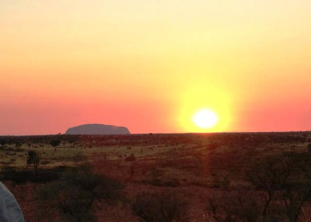 Uluru at sunrise from Kata Tjuka Australia