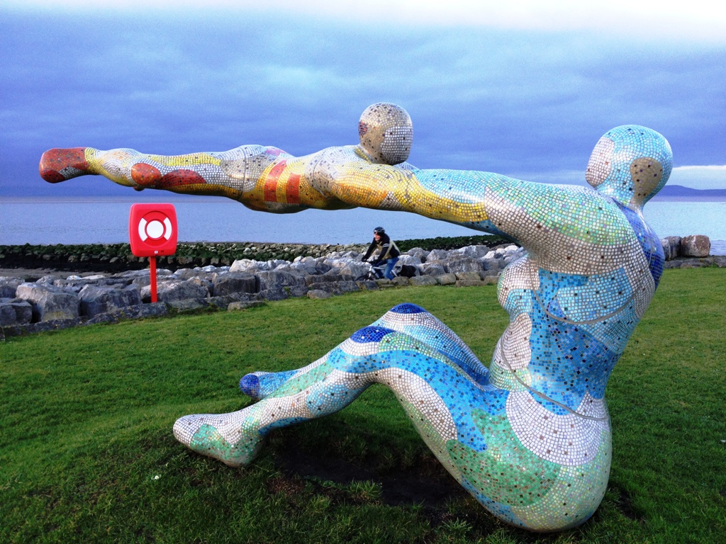Venus and Cupid sculpture on Morecambe Bay