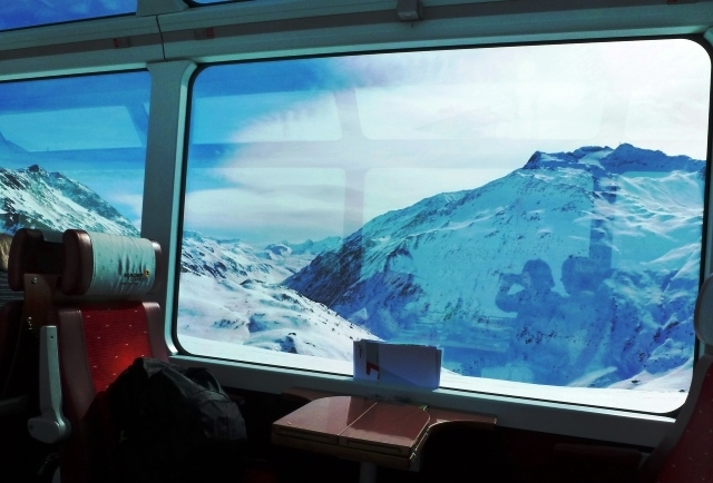 View from 1st Class carriage on Glacier Express train Switzerland - image Zoe Dawes
