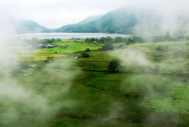Lake View from Welsh Highland Railway steam train North Wales