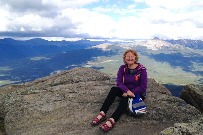 Zoe Dawes - On top of Whistler Mountain above Jasper in the Rockies Canada