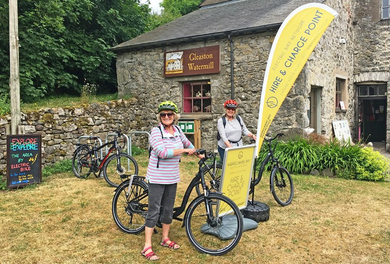 The Quirky Traveller with electric bike at Gleaston Water Mill Cumbria