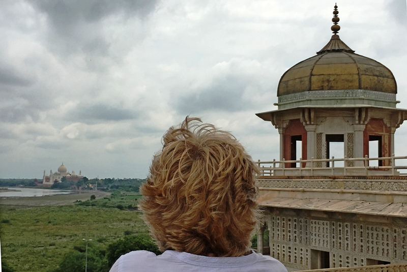 The Quirky Travel looking at the Taj Mahal from the Red Fort in Agra, Rajasthan, India