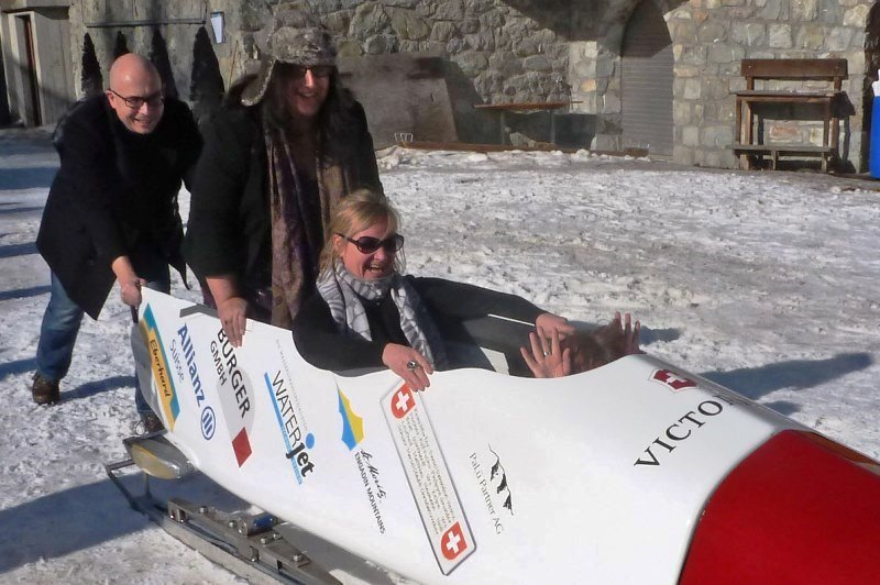 Zoe disappears in bobsled at Olympic Bob Run St Moritz
