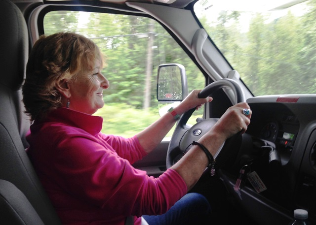 Zoe Dawes driving on RV road trip Canada